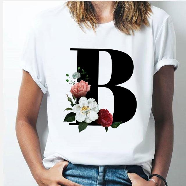 Letra del alfabeto camiseta nueva mujer Harajuku A Z combinación de alfabeto flores de manga corta Casual Tops estilo coreano Mujer