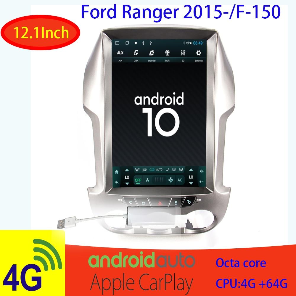 Estilo tesla android auto-radio Ford Ranger Ford F250 0 NO-2din Vertical coche multimedia reproductor de dvd gps de navegación radio carplay 4G