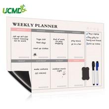 Magnétique hebdomadaire planificateur tableau blanc calendrier réfrigérateur aimants quotidien planificateur Message tableau de notes cuisine Menu corvée tableau à faire liste
