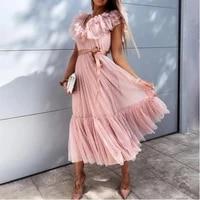 summer fashion new style pure color sleeveless lace edge sexy deep v neck ruffled belt lace up short sleeve dress vintage dress