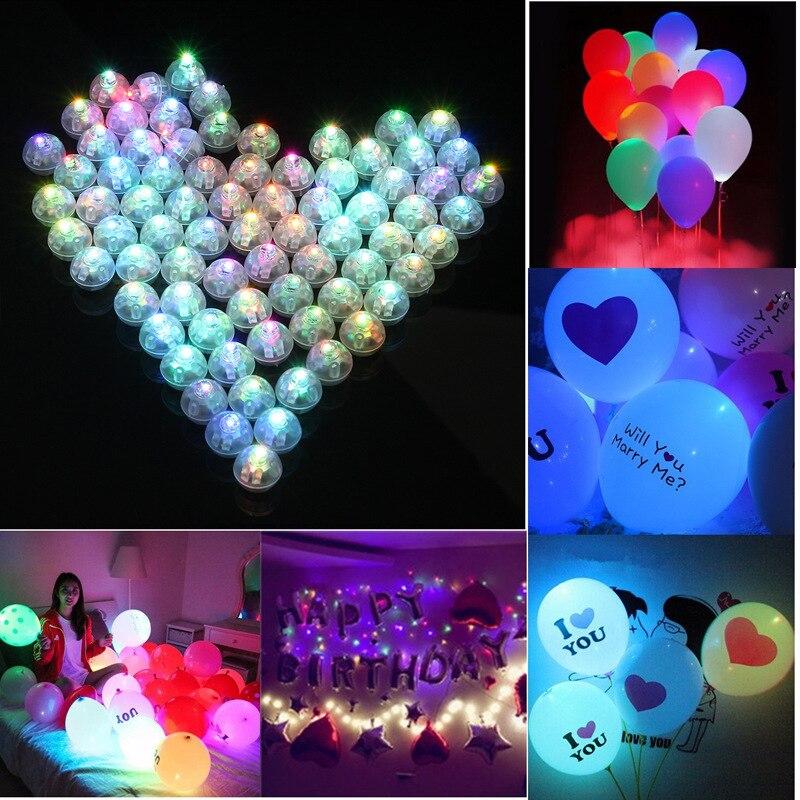 20 unids/lote de luces redondas de globo Led, Mini lámparas de Flash para linterna, decoración para fiesta de boda, luz rosa amarilla blanca