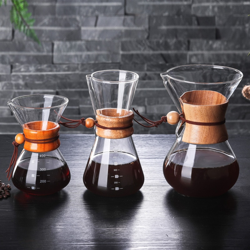 Cafetera de cristal clásica Hario V60 con mango de madera, cafetera Espresso, cafetera de goteo, herramientas Barista
