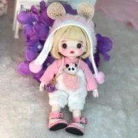 16cm wig jointed doll cute bjd mini doll hand make up face dolls with big eyes bjd toys gifts for girl handmand make up bag toy