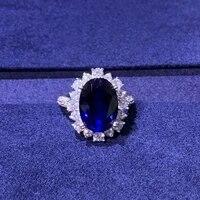 very beautiful seiko silver inlay 6 karat oval egg shaped sapphire ring diamond ring female luxury adjustable mouth