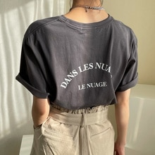 South Korea Chic Summer Casual Style Round Neck Contrast Letter Print Loose and Pullover Short Sleev