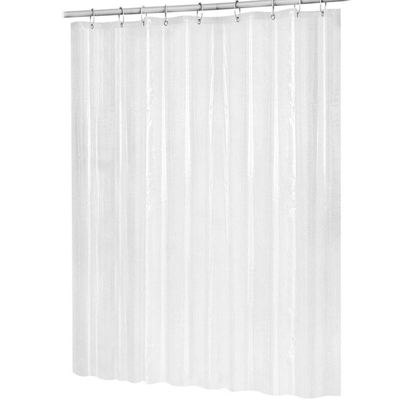 Cortina de ducha Peva de plástico de 180Cm x 180Cm, impermeable, transparente, blanco, cortina de baño transparente, cortina de baño de lujo con ganchos