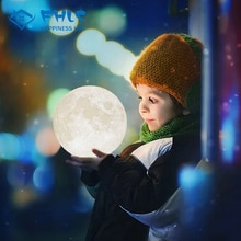Two Color 3D Print  Touch Control Moon Lights USB Charge Creative Decor Touch Switch LED Lamp Kid Ni