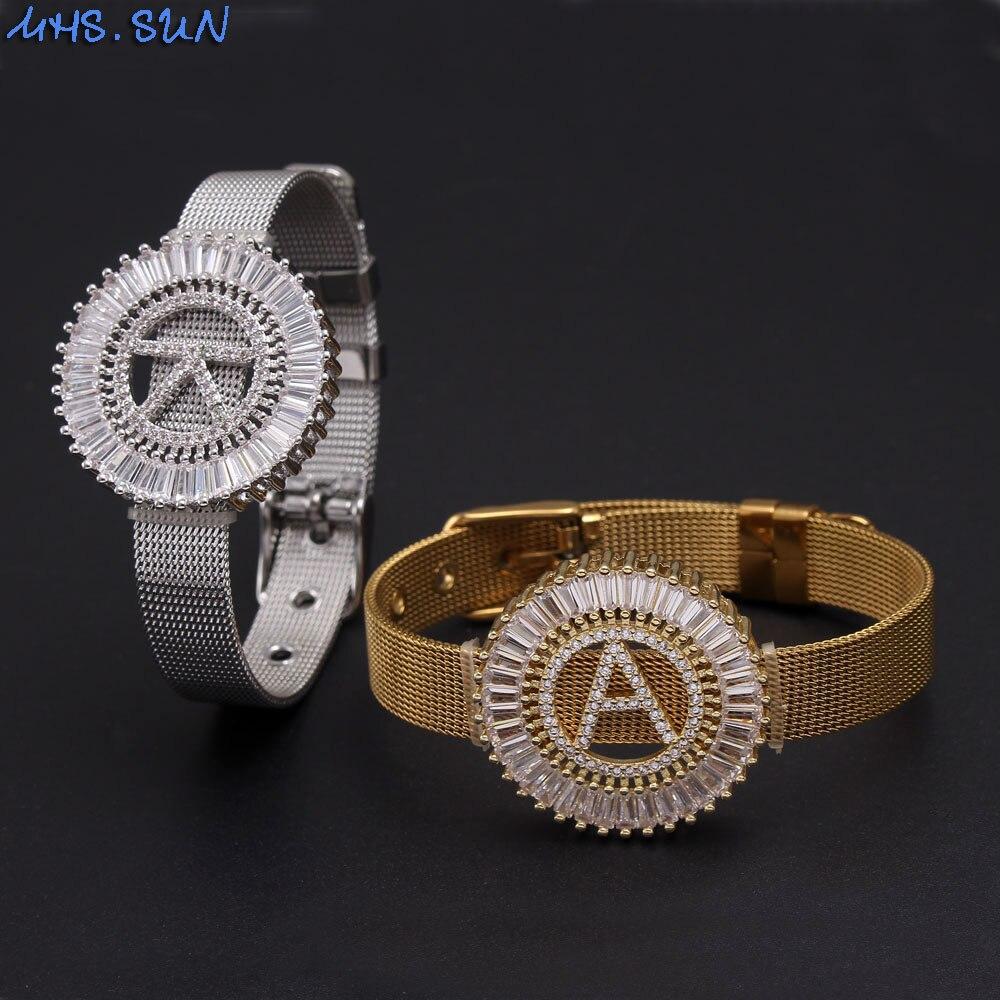 MHS. SUN нержавеющая сталь часы Стиль Браслет 26 алфавитов AAA кубический циркон браслет A-Z буквы для женщин начальные ювелирные изделия подарок