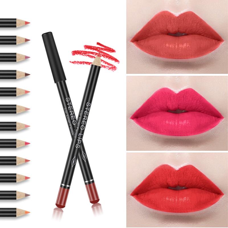 1 Pcs Hot 12 Colors Multi-functional Black Color Sexy Matte Stick Waterproof Lasting Lip Liner Pencil Set Beauty Makeup Cosmetic