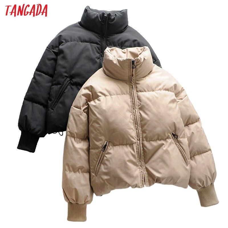 سترات تانغدا النسائية الصلبة الكاكي كبيرة الحجم سميكة 2021 الشتاء سستة جيوب الإناث الدافئة أنيقة معطف سترة 6A120