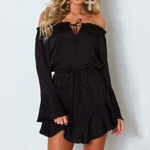 Women Dress Solid Flare Long Sleeve Slash-Neck Off Shoulder Club Party Ladies Sexy Pretty Mini Dress Robe Femme #2N22#N