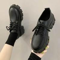 Ботинки женские на платформе, кроссовки на толстом каблуке, черные панковские ботинки, обувь для увеличения роста, De Mujer, 2021, осень