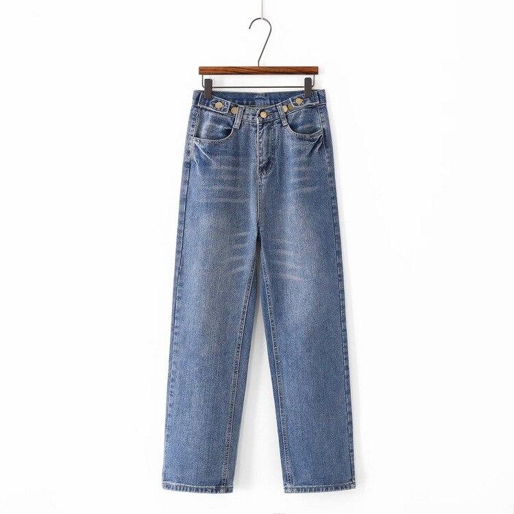 D2-6998 Unisex de cintura alta de pierna recta Pantalones de mujer con adornos de botón Casual Jeans BF AliExpress