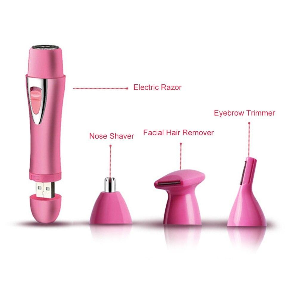 4 em 1 barbeador eletrico indolor aparador de pelos sobrancelha nariz aparador de
