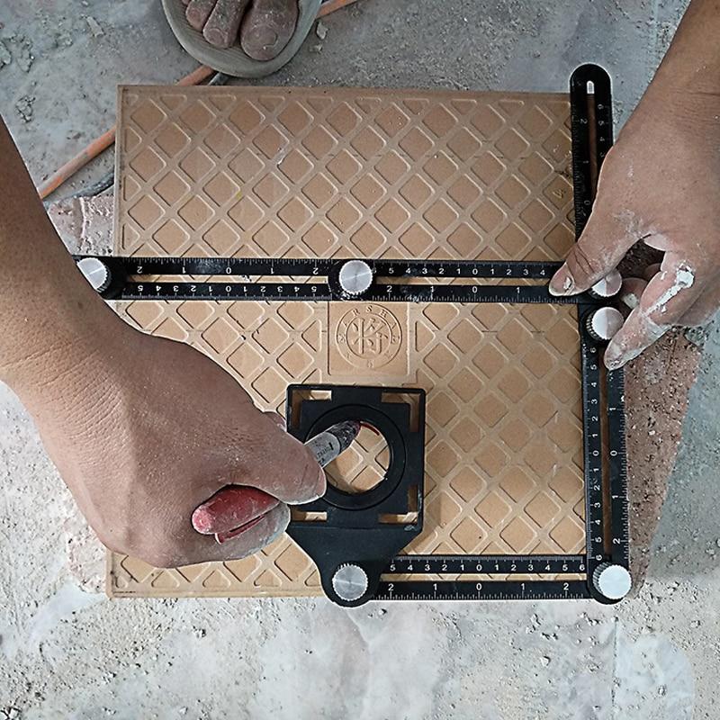 Righello di misurazione multi angolo di costruzione righello di posizionamento pieghevole in alluminio strumento professionale per pavimenti in legno e piastrelle fai da te