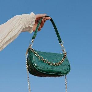 Small bag women's spring/summer 2021 new tide brand French shoulder bag hand bag French stick bag chain slung armpit bag
