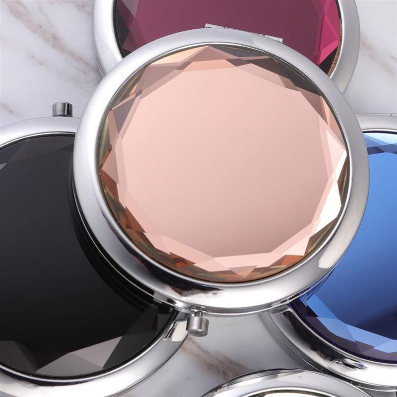 Espejo portátil de maquillaje de cristal de Metal creativo de espejos compactos plegables de doble cara redonda 4 Uds