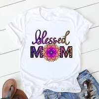 leopard blessed mom flower print graphic tees women cute top female summer white t shirt mothers day birthday gift present tees