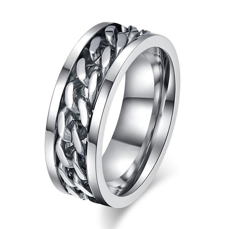 8 мм широкий Спиннер кольца из нержавеющей стали может открыть бутылки пива кубинское звено цепи кольцо мужские ювелирные изделия