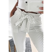 2021 Women Fashion Casual OL Pencil  Pants Bow Tie Drawstring Sweet Elastic Waist Pockets Casual Tro