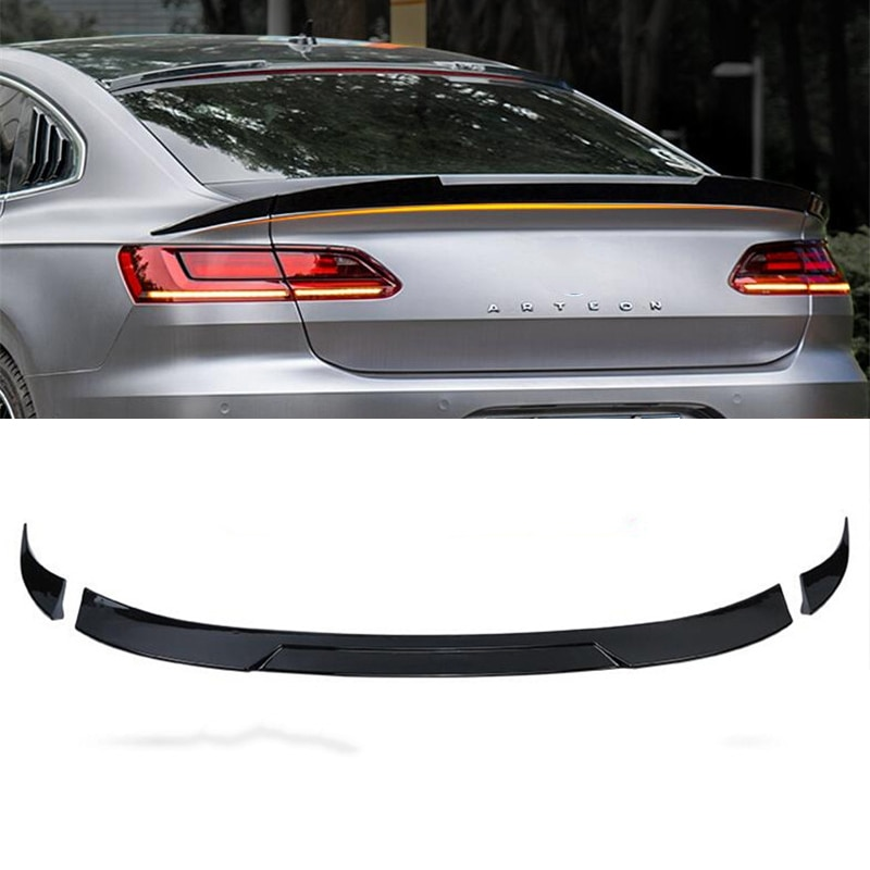 CEYUSOT FOR 3PCS Volkswagen Passat Cc Spoiler Wing New Vw Cc Car Trunk Rear Lip Tail Fin Accessories
