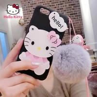 hello kitty for iphone 78pxxrxsxsmax1112pro12mini cartoon fur ball pendant phone case