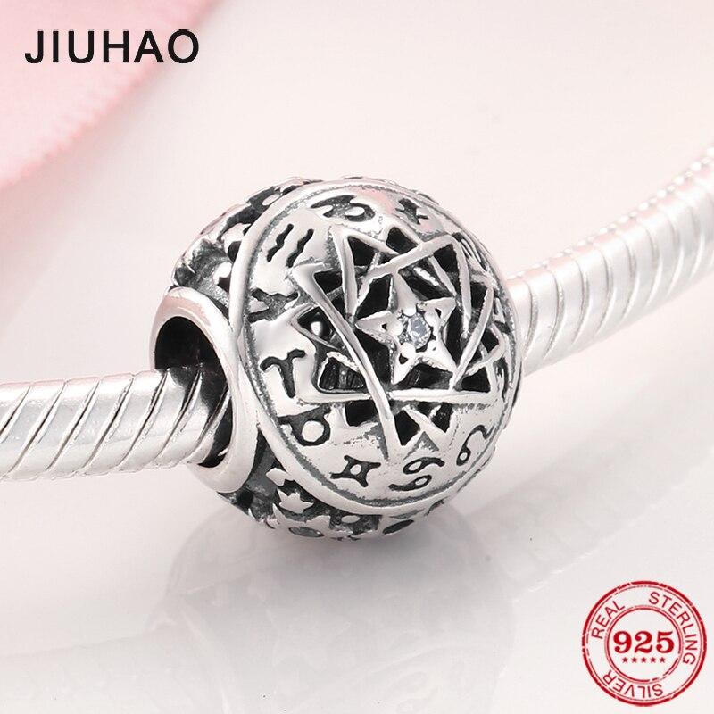 100% Plata de Ley 925 12 Constelaciones estrellas fortuna cuentas para la joyería de las mujeres haciendo Fit Original JIUHAO encantos pulseras