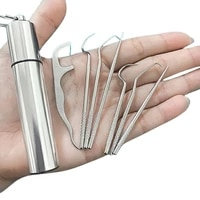 new 8pcs portable stainless steel metal toothpick bag set reusable environmental protection with holders for outdoor picnic camp