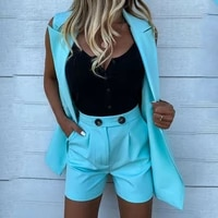 dropshipping two pieces sets for women solid color casual suits with shorts sleeveless vest blazer and shorts women workwear new