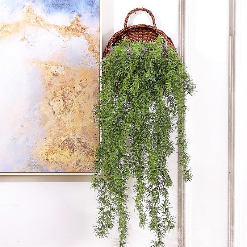 3 tenedores de plantas artificiales, guirnalda de pino, guirnalda de vid de imitación de ratán, ramitas colgantes, ramo de hojas de vegetación de seda, decoración de pared para bodas