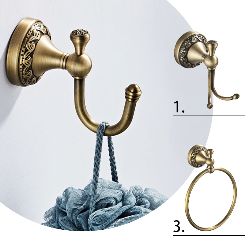 Classic Retro Style Brass Wall Mounted Round Carved Towel Ring Antique Color Bath Holder Rack Bathroom Accessories