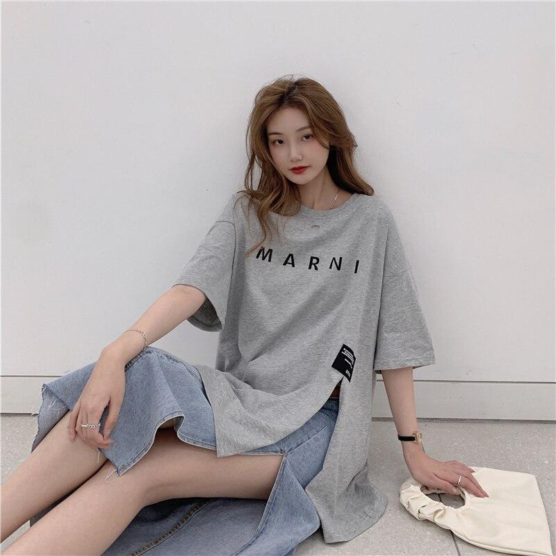 2021 Letter Printing Loose Leisure All-Matching Tee Shirt Femme Harajuku Plus Size Summer Top Korean