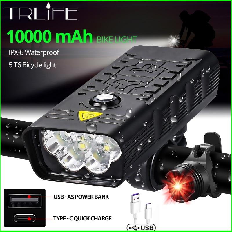 10000mAh Bike Light USB Rechargeable 5000 Lumens Bike Headlight 6T6 LED Super Bright Flashlight Front Lights and Back Rear light