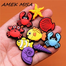 Crock Charms Accessories Cartoon Animals Cute PVC Shoe Croc Buttons Sandals Charms Decoration Marine