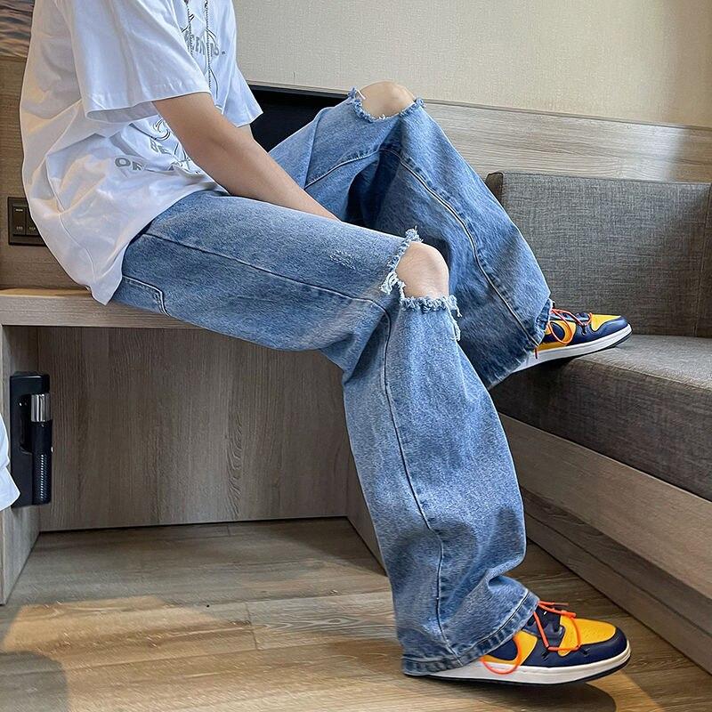 Рваные джинсы, мужские Модные джинсы в Корейском стиле, мужские свободные повседневные джинсы, Мужская Уличная одежда, прямые брюки с широк...