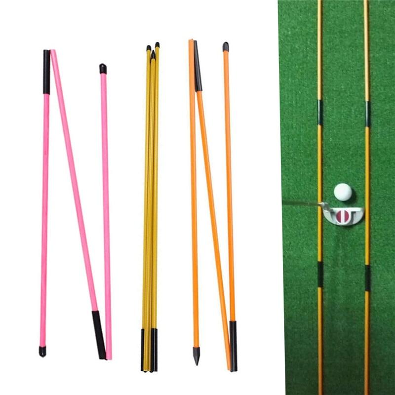 2 Pcs Golf Indicator Stick Putter Auxiliary Trainer Three-fold Direction Indicator Golf Training Equipments
