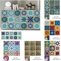 10pcsset mandala tiles ceramics style wall sticker kitchen wardrobe home decor art mural peel stick wall decals