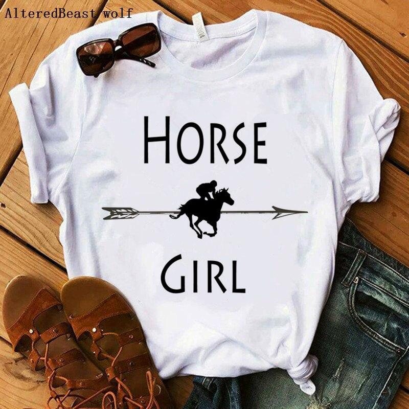Cavalo menina carta imprimir engraçado t camisa das mulheres camisetas casual cavalo camiseta branco topos hipster feminino manga curta vogue t camisa