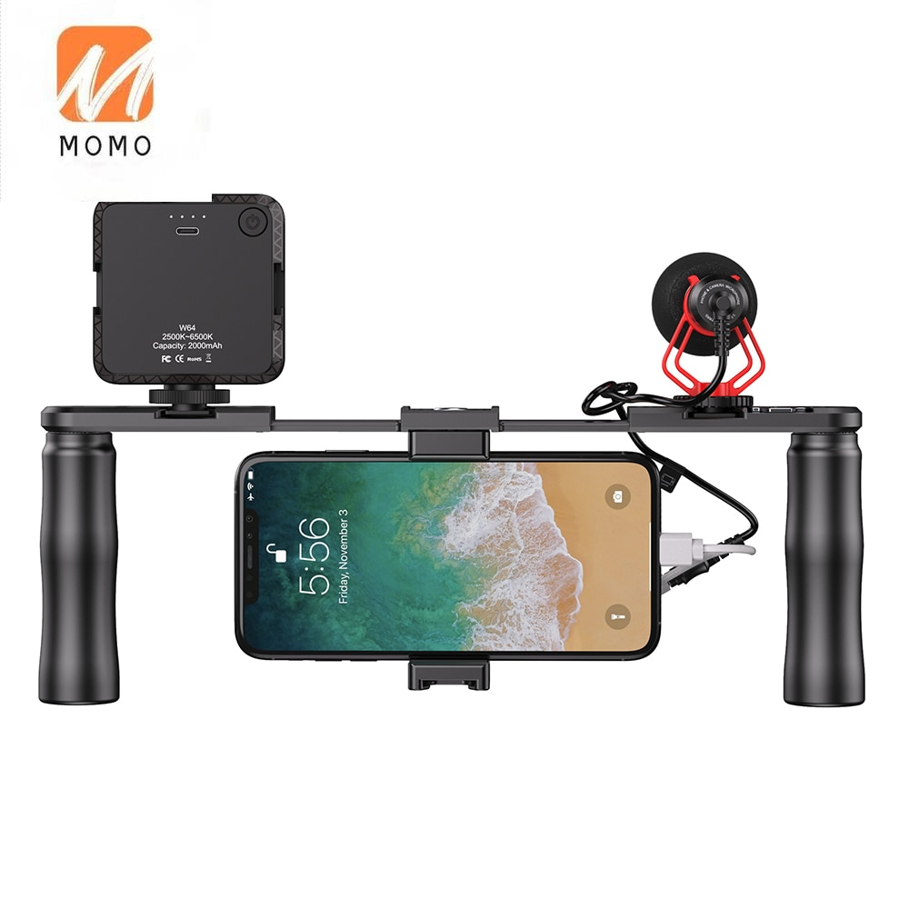 Dual Handheld Stabilizer Filmmaking Grip Smartphone Video Rig with Cold Shoe Vlog Videographing Accessory ulanzi u rig pro phone video stabilizer grip tripod mount stand handheld smartphone video rig filmmaking case for iphone