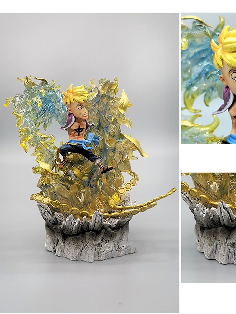 14CM Anime Figure One Piece Marshall D Teach Luffy Kaido Marco PVC Statue Collectible Action Figure Toy Brinquedos Figurine