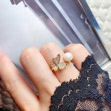 6-7mm Freshwater Pearl Ring 2021 Korean Fashion Open Ring Butterfly Women's Ring For Women's Party B