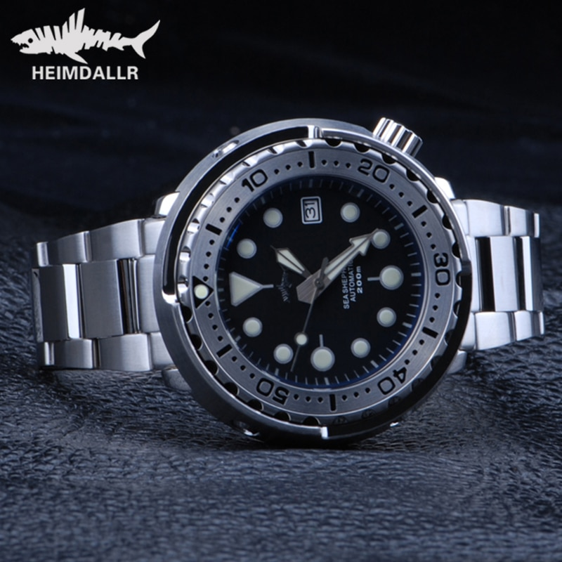 HEIMDALLR-ساعة غواص التونة الفولاذية NH35 ، ساعة يد أوتوماتيكية من الكريستال الياقوت ، C3 ، فائقة الإضاءة ، 47 مللي متر ، 316L ، علبة فولاذية