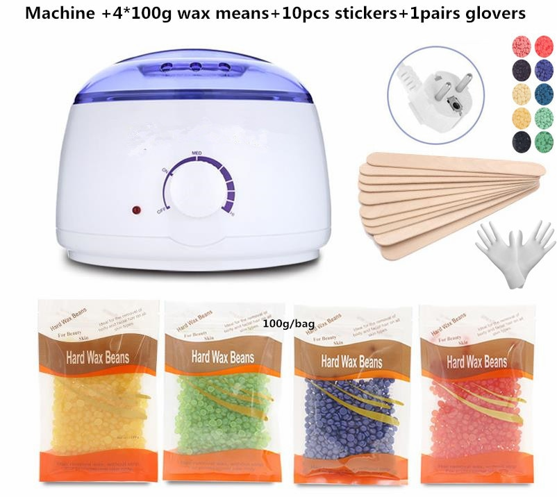 Electric Hair Removal Wax- Heater Wax Beans 10pcs Wood Stickers Hair Removal Sets Waxing Kit cera depilator