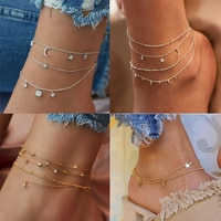 2020 Retro Star Moon Crystal Women's Anklet Statement Bohemian Multi-layer Ankle Leg Anklet Jewelry Wholesale