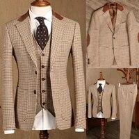 Ensemble de 3 pieces pour hommes  Robe de Mariee Slim Fit  Costume a carreaux pour mariage  blazer  veste formelle  gilet et pantalon de smoking  nouvelle collection