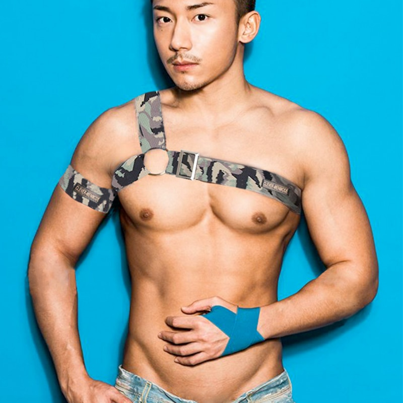 New Sexy Men's Elastic Wide Straps Body Chest Harness Bondage Belt Halter Neck Men Erotic Lingerie Party Satge Nightclub Wear