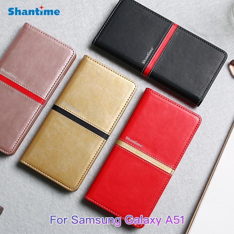 Funda de cuero PU tipo cartera para teléfono Samsung Galaxy A51, funda de moda con tapa para Galaxy A51, funda de negocios, funda trasera de silicona blanda