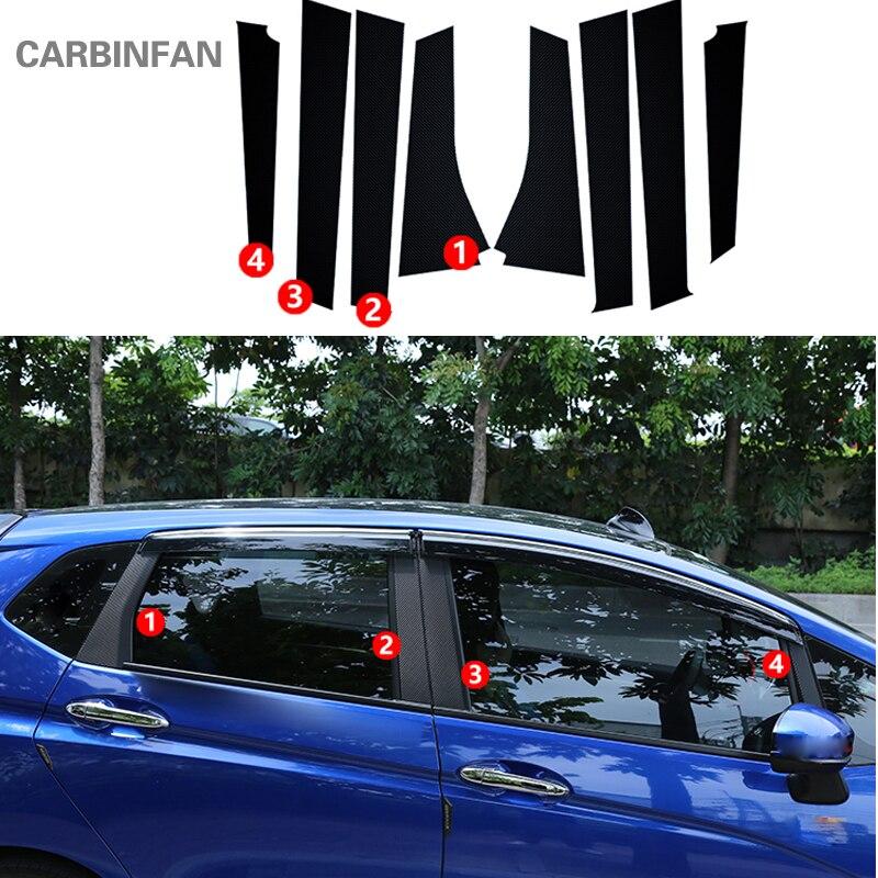8 pçs/set Janela Estilo Do Carro B Pilar Coluna De Fibra De Carbono Adesivo Guarnição Para Honda Fit/Jazz C603 GK5 3rd GEN 2014-2017 Etiqueta Do Carro