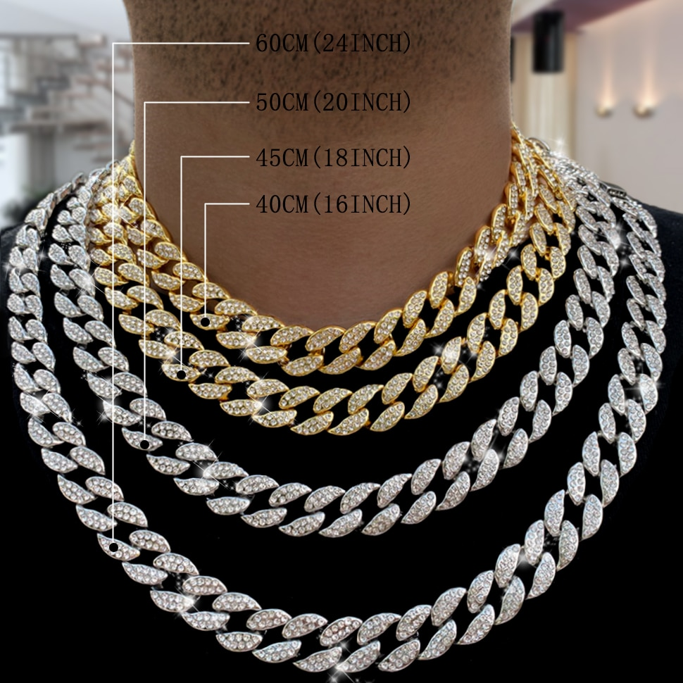 Miami Curb Cuban Chain Necklace 16mm 30inches Gold color IcedOut Paved Rhinestones CZ Bling Rapper N