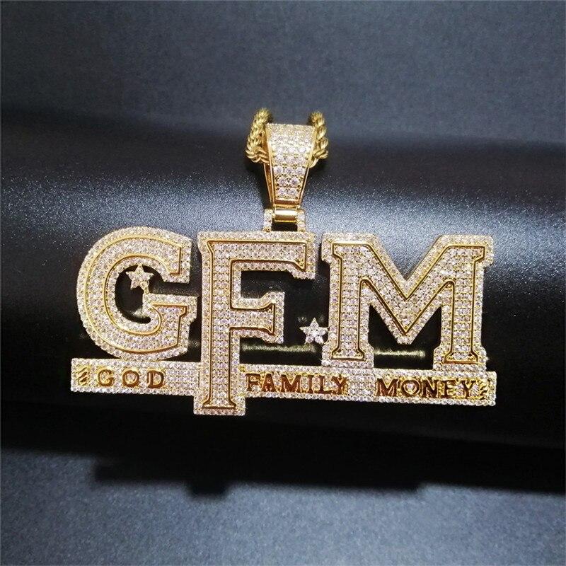 COLLAR COLGANTE de letras Iced Out, recién llegado, dios Dinero de la familia AAA zirconia, collar de amuletos para hombres, joyería de Hip Hop